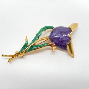 Jewelry - Purple Enamel Tulip Flower Pin